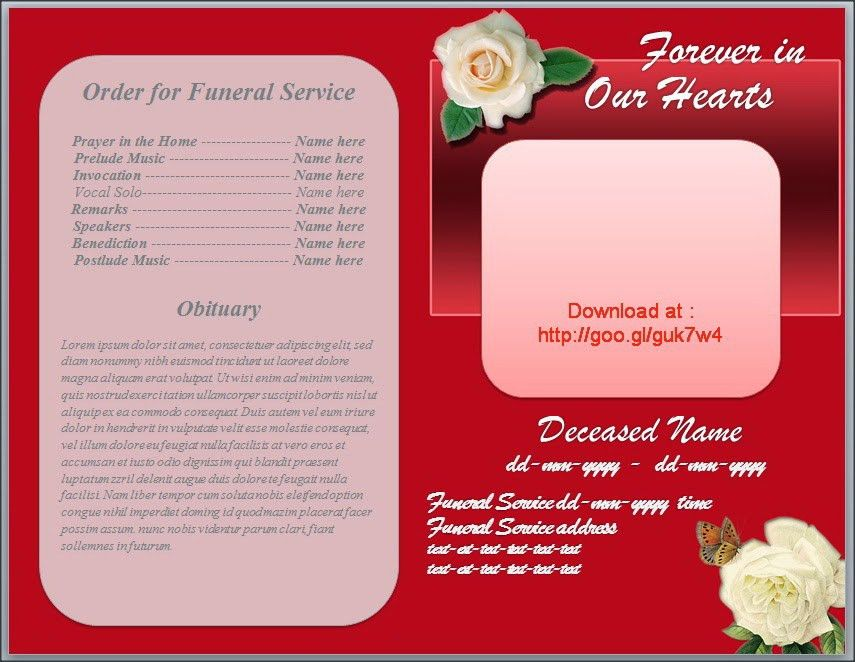 Free Funeral Program Obituary Template White Rose Red Background ...