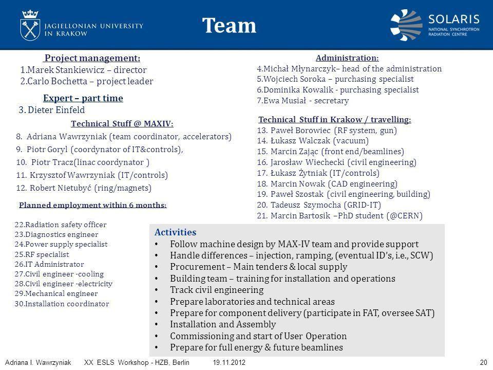 Status of Solaris Adriana I. Wawrzyniak On behalf of Solaris Team ...