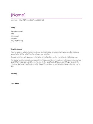 Resume cover letter (violet) - Office Templates