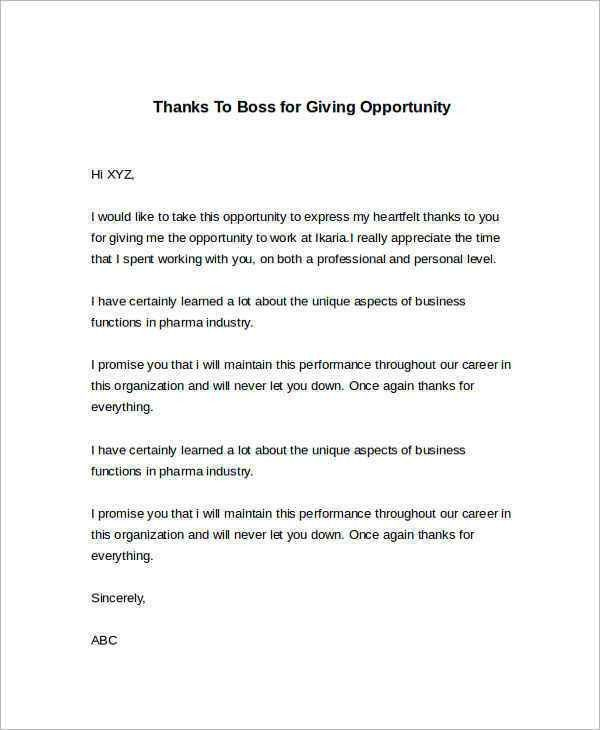 Sample Thank You Letter to Boss - 22+ Free Documents Download in Word