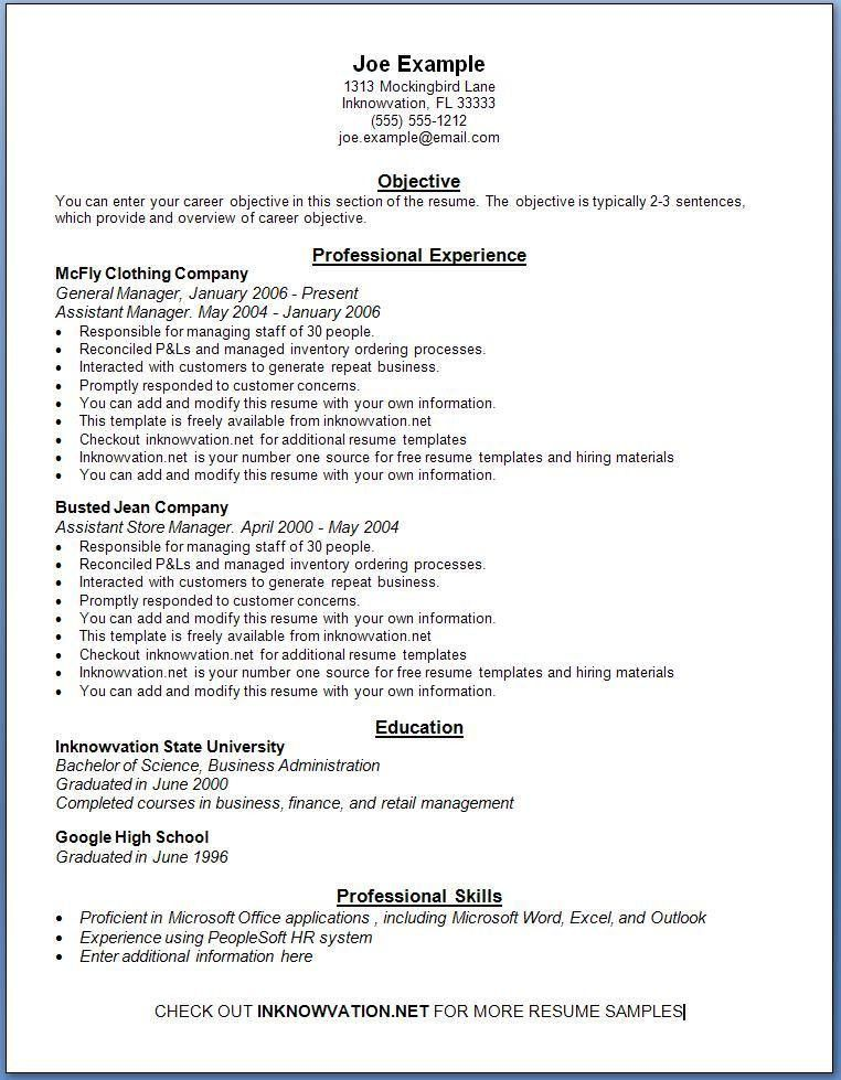 Ms Office Resume Templates. Free Professional Resume Templates ...