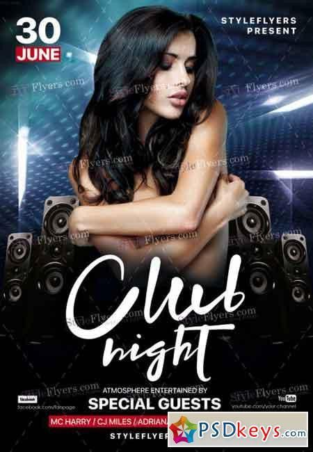 Club Night PSD Flyer Template » Free Download Photoshop Vector ...