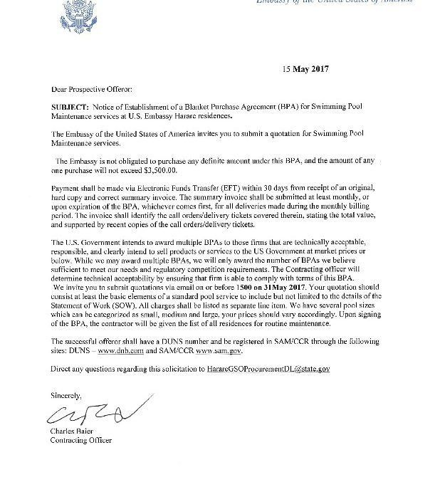 Signed Cover letter | U.S. Embassy in Zimbabwe