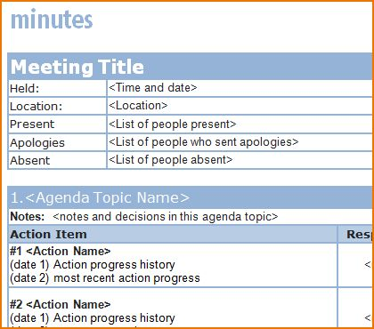 4+ free meeting minutes template | teknoswitch