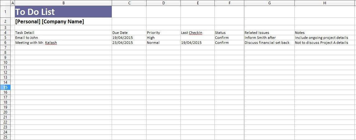 4 Free Sample Employee Task List Templates U2013 OpenOffice Calc Templates