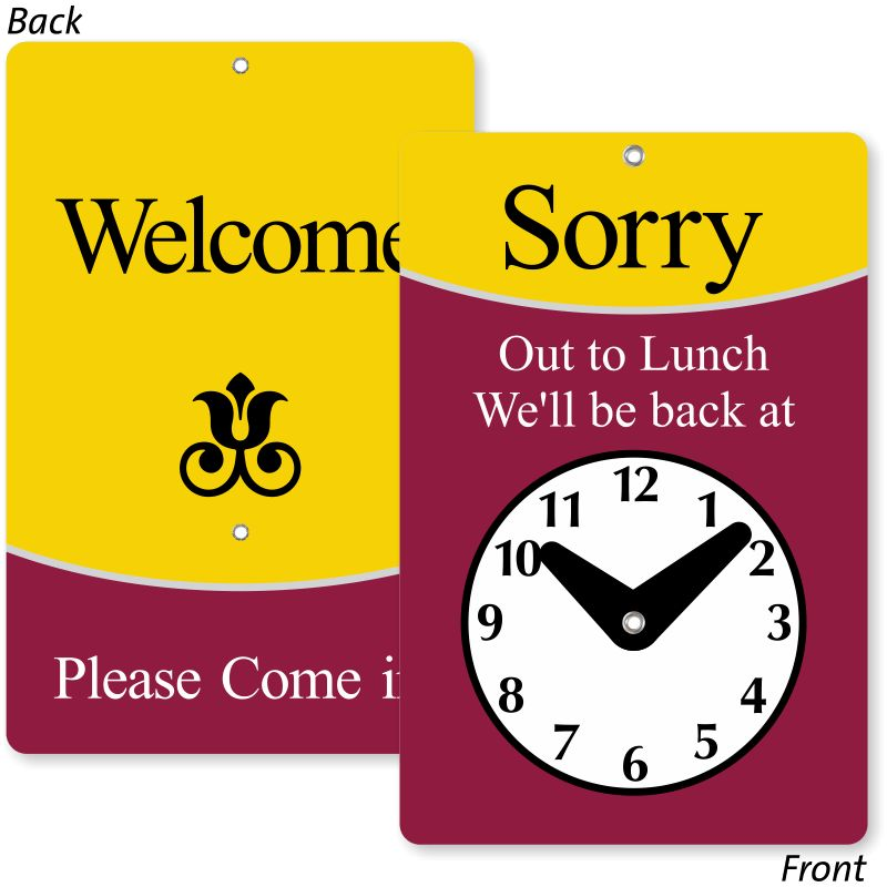 Clock Signs | Will Return Signs