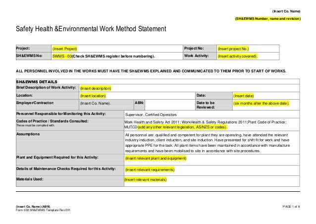 Form 002 - Safe Work Method Statement Template