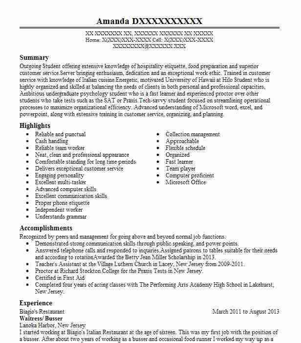 Best Busser Resume Example | LiveCareer