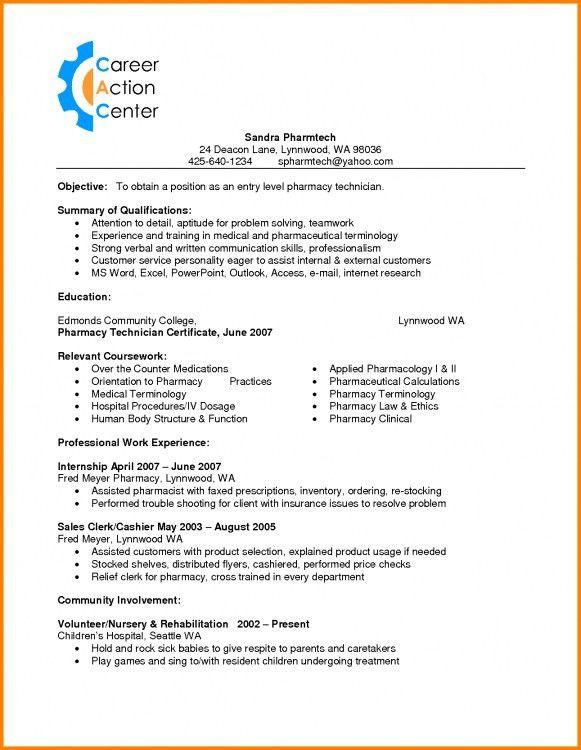 Resume examples for pharmacy technician