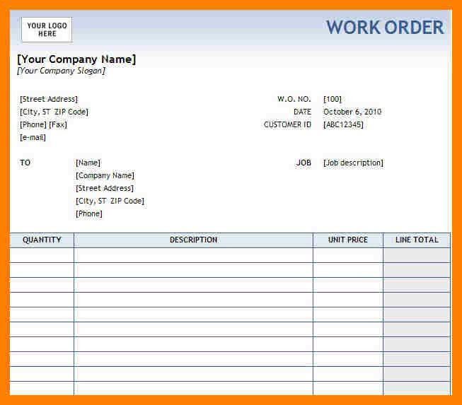 5+ free printable work order forms | packaging clerks