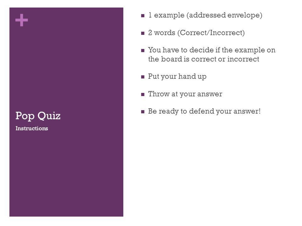 Addressing an Envelope Pop Quiz. Pop Quiz. Pop Quiz. - ppt download