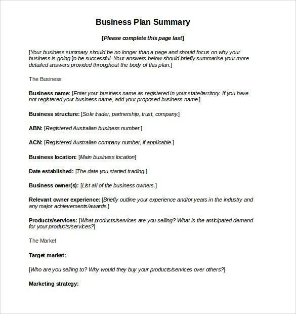 Nice Business Action Plan Summary in Word with Paragraph Format ...