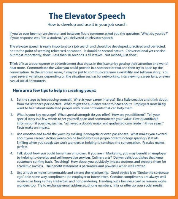 elevator speech examples for job seekers thevillas co