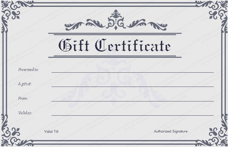 Blank Gift Certificate Template Word | Printable Calendar Templates