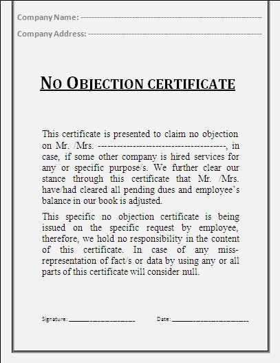 No Objection Certificate Template | Certificate Templates