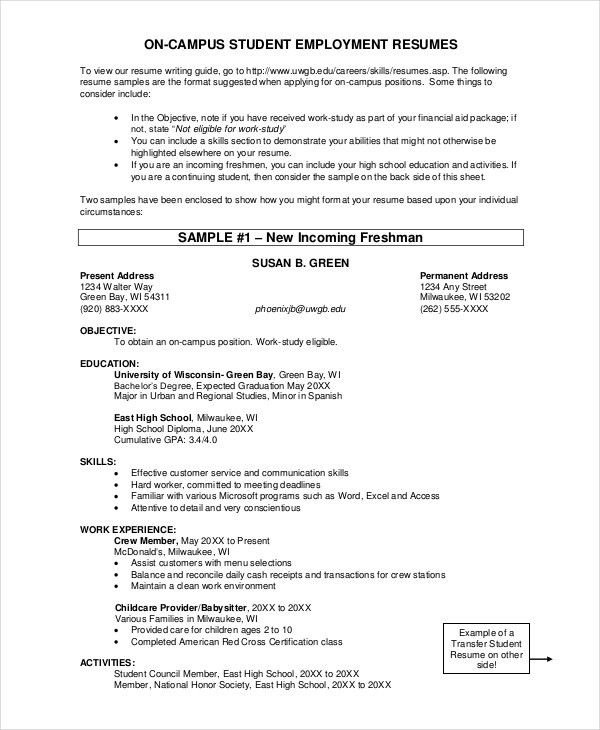 Resume Examples For Graduate Students. Sample High School Student ...