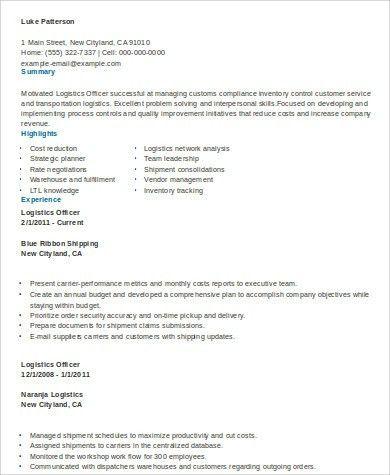 logistics resume sample resume sample 22 global logistics resume