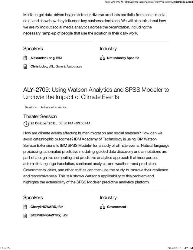 World of Watson 2016 - Watson analytics