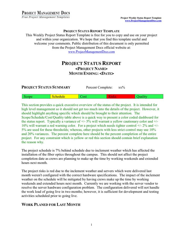 Project Weekly Status Report Template in Word and Pdf formats