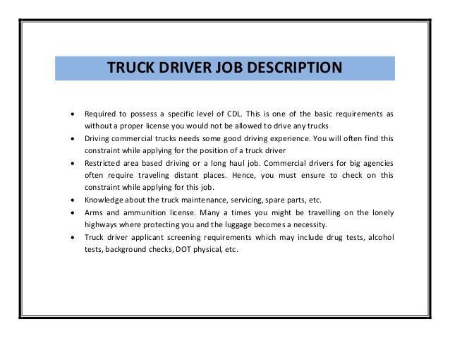Job Description Of Truck Driver, CDL Job Description for Resume ...