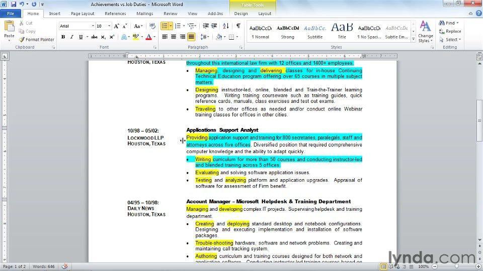 Showcasing achievements vs. listing job duties: Creating an ...
