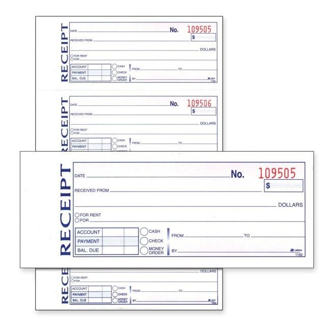 "Adams Money/Rent Receipt Book - 11"" Length x 7.62"" Width ..."