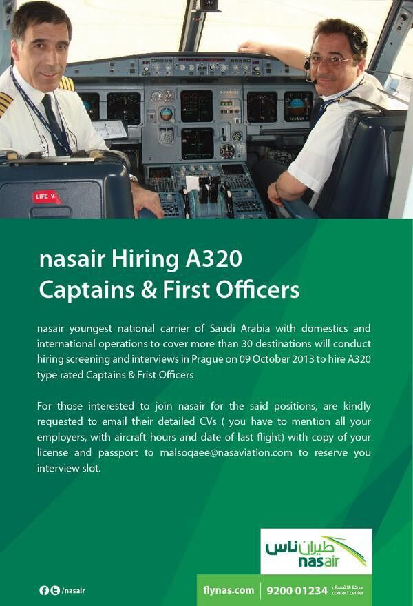 "flynas طيران ناس on Twitter: ""#nasair hiring #A320 Captains ..."