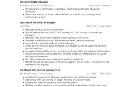 Carprentry Resume - Reentrycorps