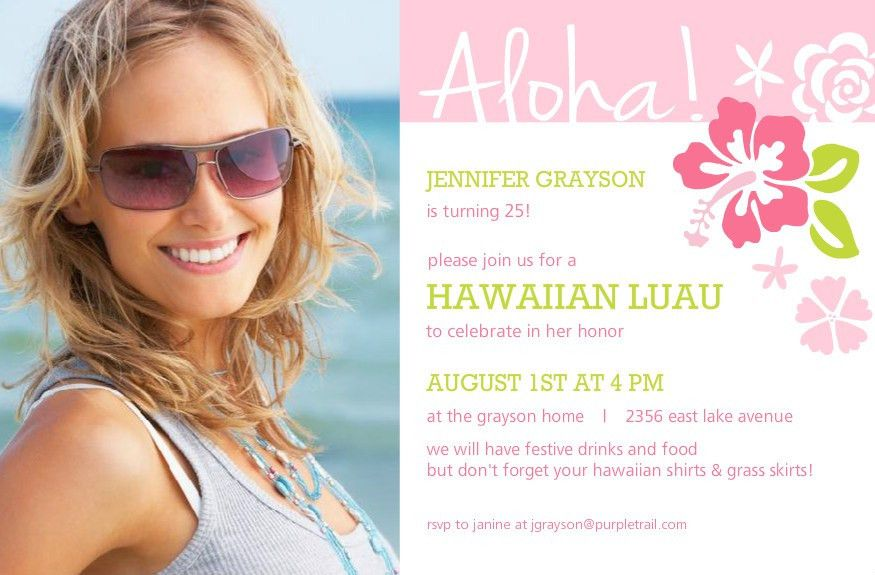 Hawaiian Birthday Invitations Template | Best Template Collection