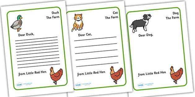 Little Red Hen Letter from Hen Writing Template - Little Red