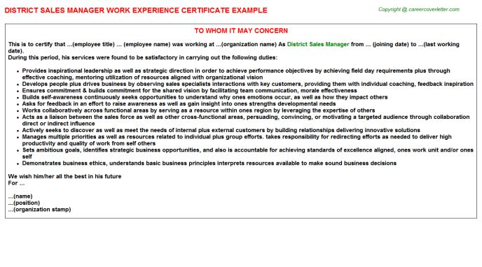 Regional Sales Manager Work Experience Letters