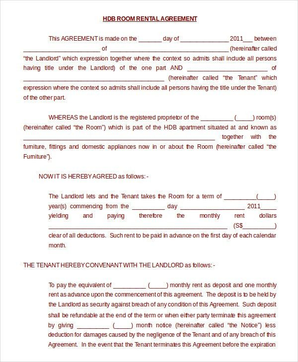 Room Rental Agreement - 11+ Free Word, PDF Documents Download ...