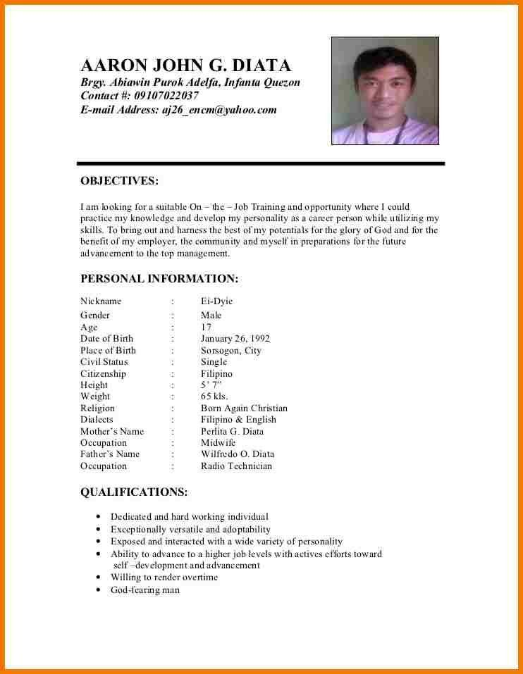 resume for job application philippines sample format ojt jodoranco ...