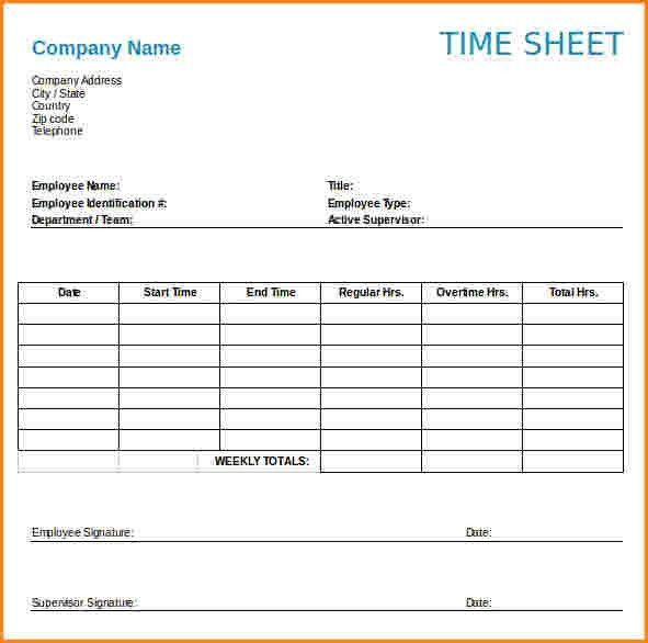 10+ Weekly Timesheet Template Free Download | receipts template
