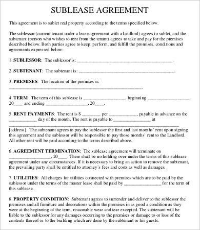 Sublease Contract Template - 8+ Free Word, PDF Documents Download ...