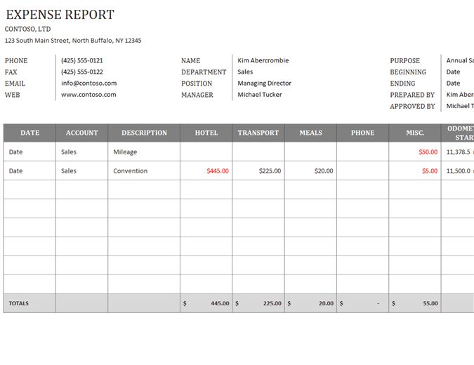 Business expense report - Office Templates