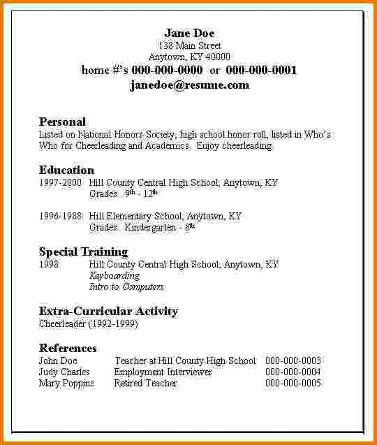 resume example first job