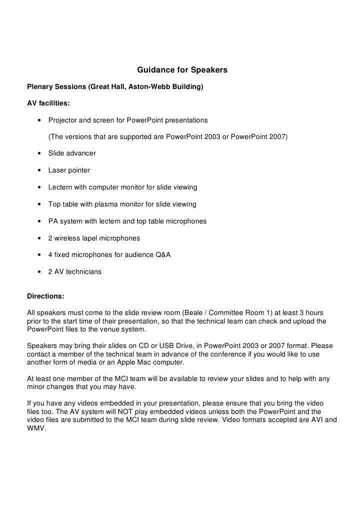 Speaker Briefing Document