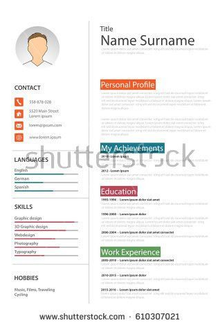 Professional Resume Cv Colored Bookmarks Template Stock Vector ...