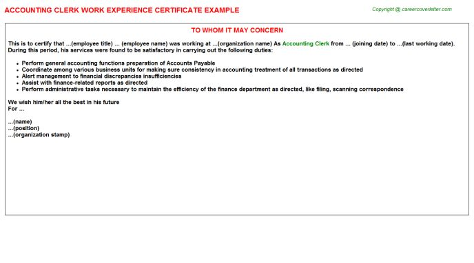 Accounting Clerk Work Experience Certificate