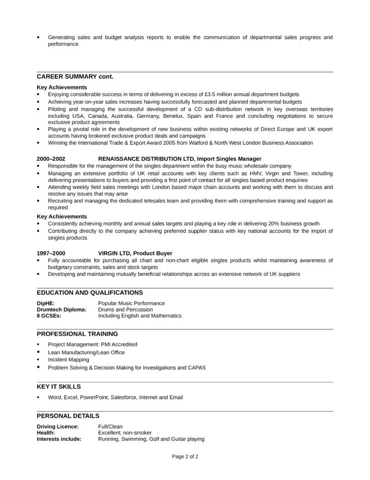 Professional Telemarketer Resume Template | page 2
