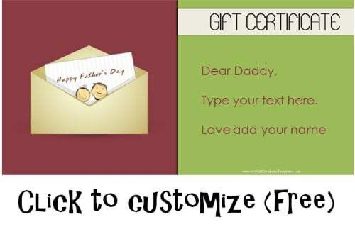 Free Printable Father's Day Gift Cards - Customize Online