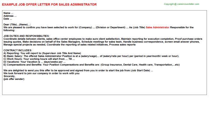 Sales Administrator Offer Letter
