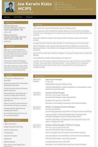 Warehouse Resume samples - VisualCV resume samples database