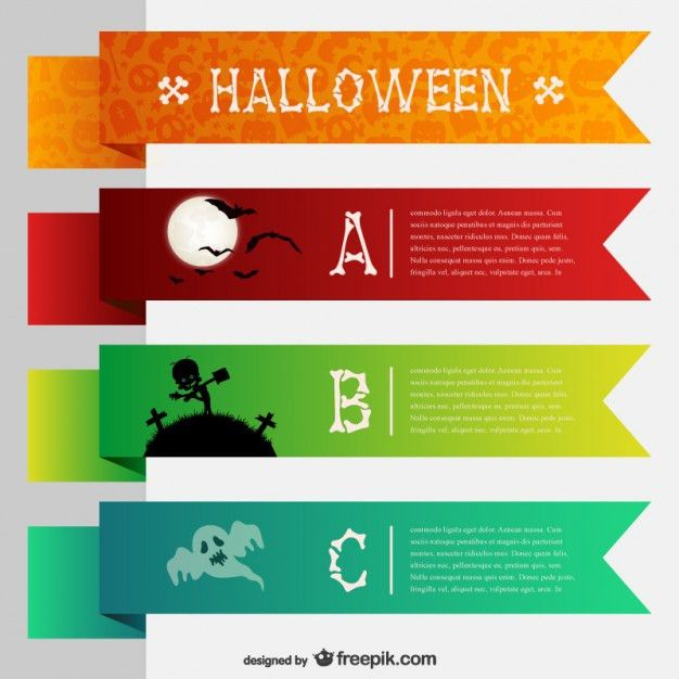 Colorful banner templates for Halloween Vector | Free Download