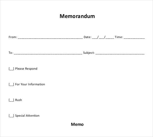 10+ Blank Memo Templates – Free Sample, Example, Format Download ...