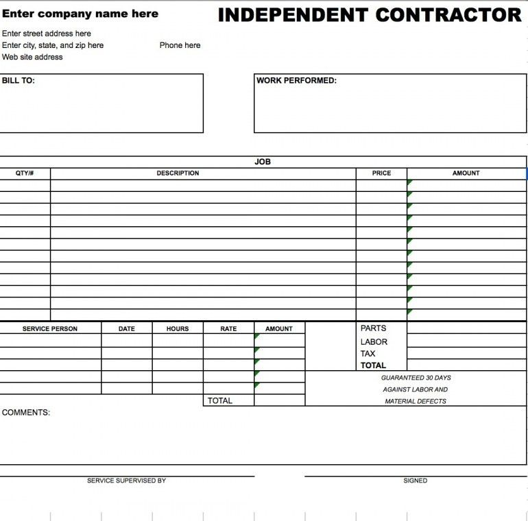 work invoices template