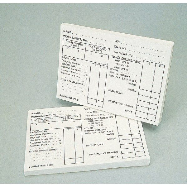 Guildhall P100 Payslip PAYE Wages Pad, 1609, Office Supplies