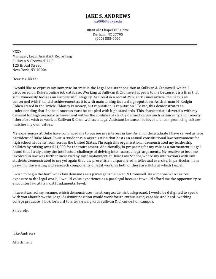 Senior Cover Letter: Law