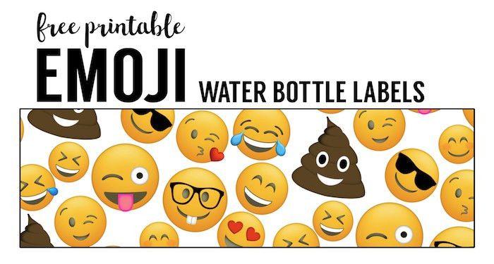 Emoji Water Bottle Labels Free Printable - Paper Trail Design